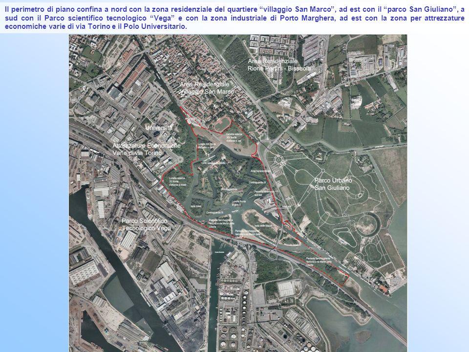 Il perimetro di piano confina a nord con la zona residenziale del quartiere villaggio San Marco , ad est con il parco San Giuliano , a sud con il Parco scientifico tecnologico Vega e con la zona industriale di Porto Marghera, ad est con la zona per attrezzature economiche varie di via Torino e il Polo Universitario.