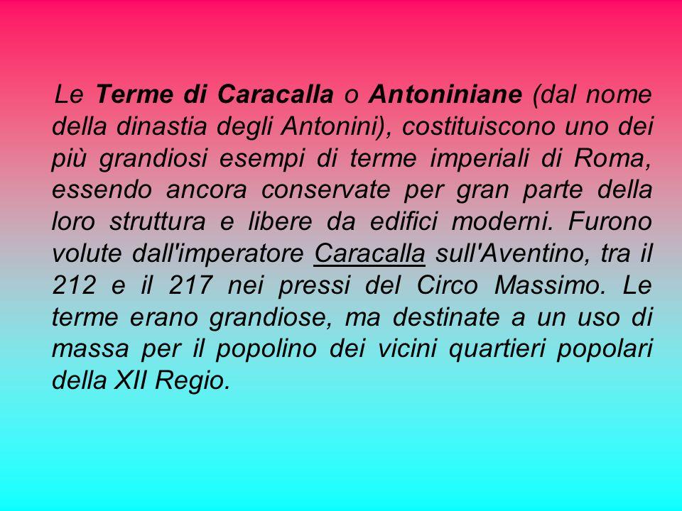 Le Terme di Caracalla o Antoniniane (dal nome della dinastia degli Antonini), costituiscono uno dei più grandiosi esempi di terme imperiali di Roma, essendo ancora conservate per gran parte della loro struttura e libere da edifici moderni.