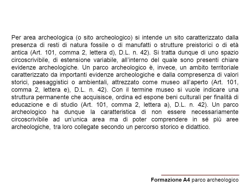 Per area archeologica (o sito archeologico) si intende un sito caratterizzato dalla presenza di resti di natura fossile o di manufatti o strutture preistorici o di età antica (Art. 101, comma 2, lettera d), D.L. n. 42). Si tratta dunque di uno spazio circoscrivibile, di estensione variabile, all'interno del quale sono presenti chiare evidenze archeologiche. Un parco archeologico è, invece, un ambito territoriale caratterizzato da importanti evidenze archeologiche e dalla compresenza di valori storici, paesaggistici o ambientali, attrezzato come museo all'aperto (Art. 101, comma 2, lettera e), D.L. n. 42). Con il termine museo si vuole indicare una struttura permanente che acquisisce, ordina ed espone beni culturali per finalità di educazione e di studio (Art. 101, comma 2, lettera a), D.L. n. 42). Un parco archeologico ha dunque la caratteristica di non essere necessariamente circoscrivibile ad un'unica area ma di poter comprendere in sé più aree archeologiche, tra loro collegate secondo un percorso storico e didattico.