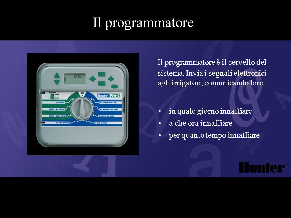 Il programmatore Il programmatore è il cervello del sistema. Invia i segnali elettronici agli irrigatori, comunicando loro:
