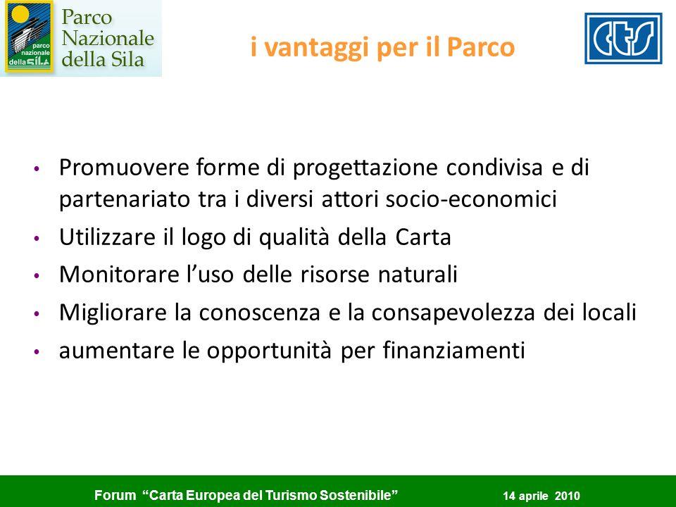 i vantaggi per il Parco Promuovere forme di progettazione condivisa e di partenariato tra i diversi attori socio-economici.