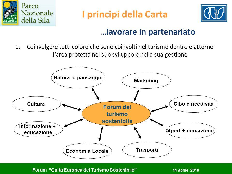 ...lavorare in partenariato Forum del turismo sostenibile