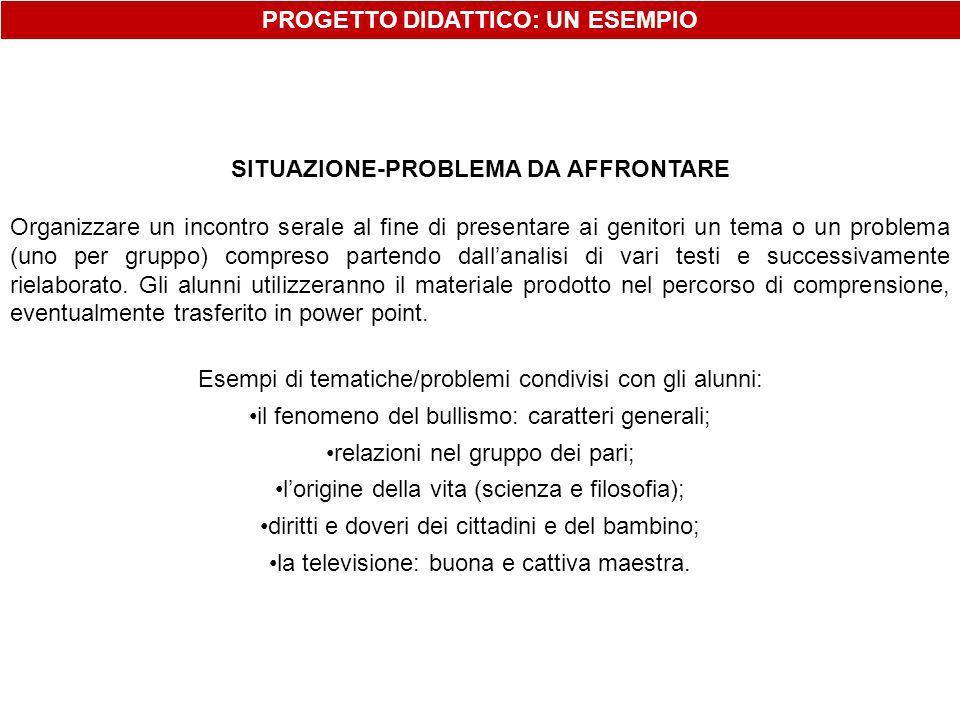PROGETTO DIDATTICO: UN ESEMPIO SITUAZIONE-PROBLEMA DA AFFRONTARE