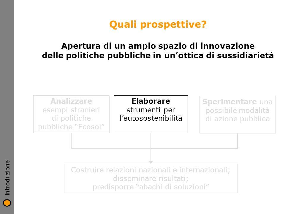 introduzione Quali prospettive Apertura di un ampio spazio di innovazione delle politiche pubbliche in un'ottica di sussidiarietà.
