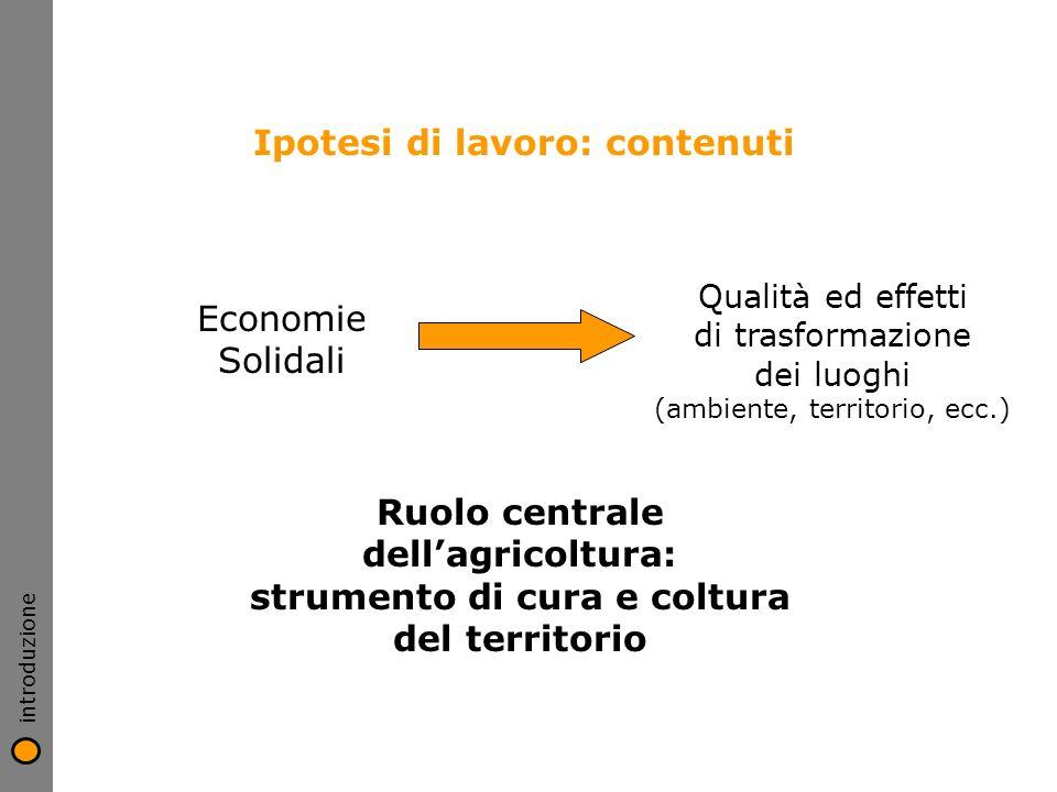 Ipotesi di lavoro: contenuti