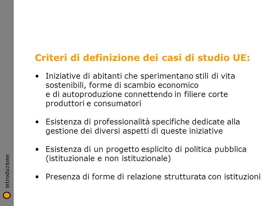 Criteri di definizione dei casi di studio UE: