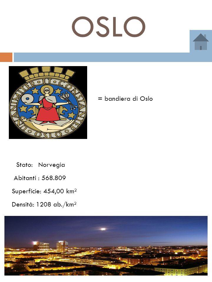 OSLO = bandiera di Oslo Stato: Norvegia Abitanti : 568.809