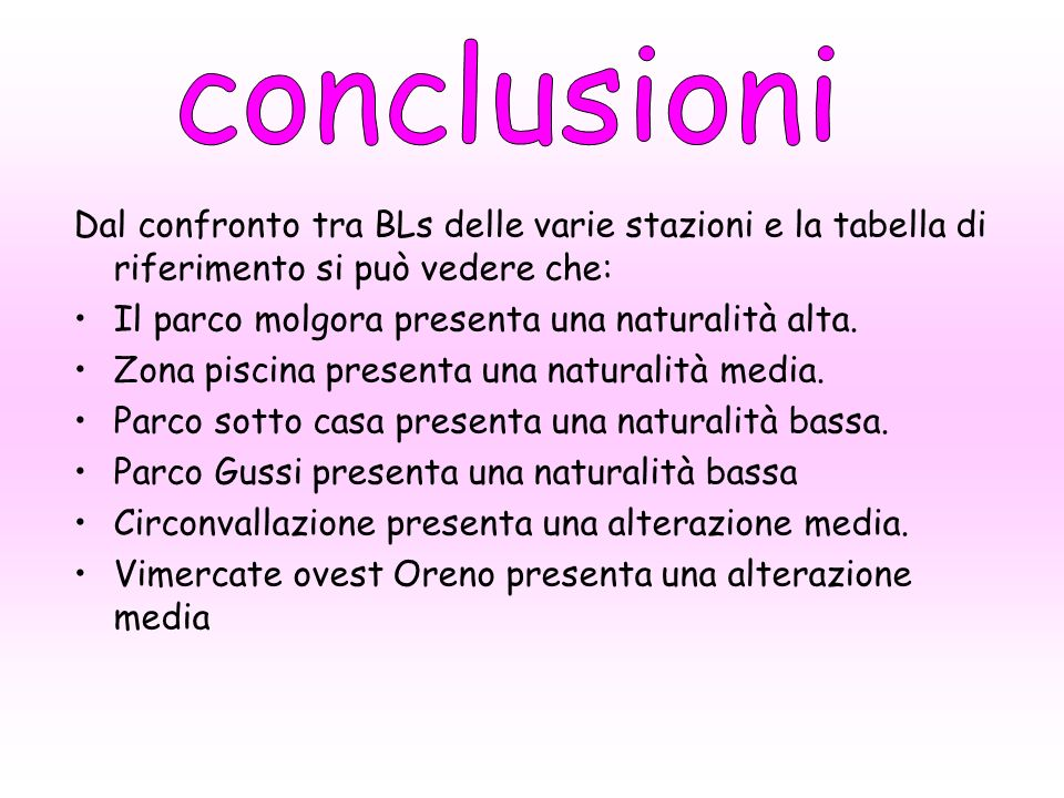 conclusioni Dal confronto tra BLs delle varie stazioni e la tabella di riferimento si può vedere che:
