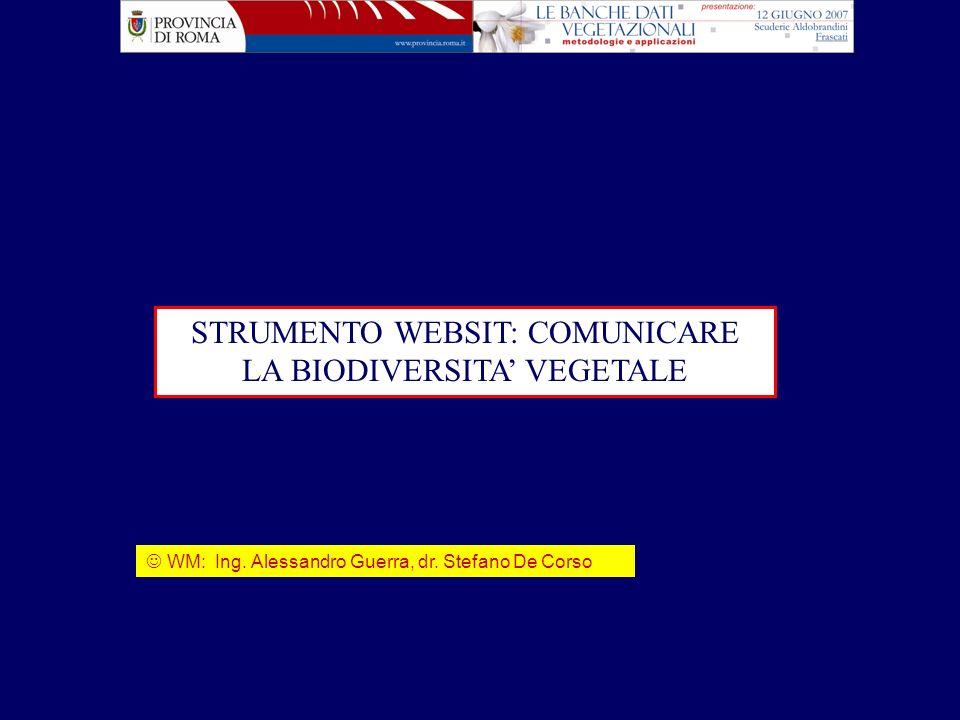 STRUMENTO WEBSIT: COMUNICARE LA BIODIVERSITA' VEGETALE