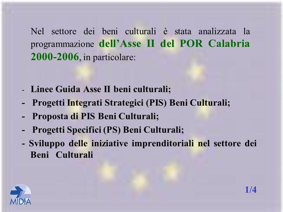 - Progetti Integrati Strategici (PIS) Beni Culturali;