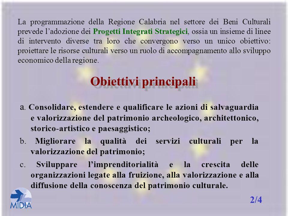 La programmazione della Regione Calabria nel settore dei Beni Culturali prevede l'adozione dei Progetti Integrati Strategici, ossia un insieme di linee di intervento diverse tra loro che convergono verso un unico obiettivo: proiettare le risorse culturali verso un ruolo di accompagnamento allo sviluppo economico della regione.