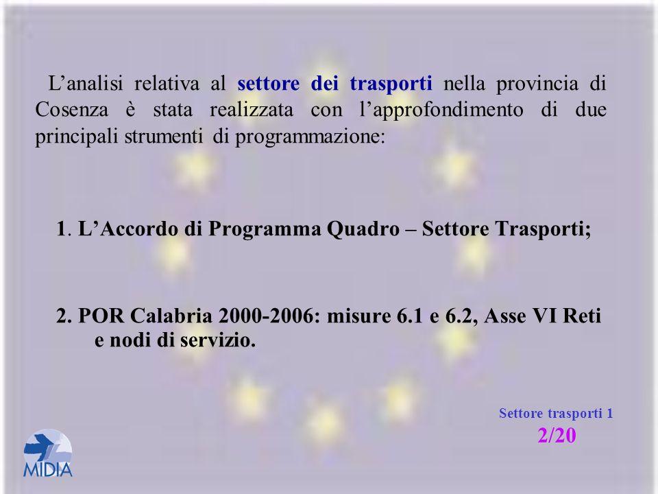 1. L'Accordo di Programma Quadro – Settore Trasporti;