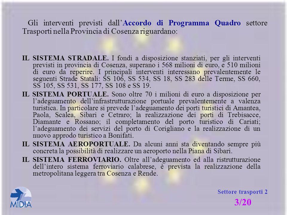 Gli interventi previsti dall'Accordo di Programma Quadro settore Trasporti nella Provincia di Cosenza riguardano:
