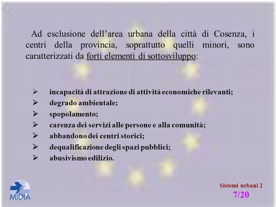 Ad esclusione dell'area urbana della città di Cosenza, i centri della provincia, soprattutto quelli minori, sono caratterizzati da forti elementi di sottosviluppo: