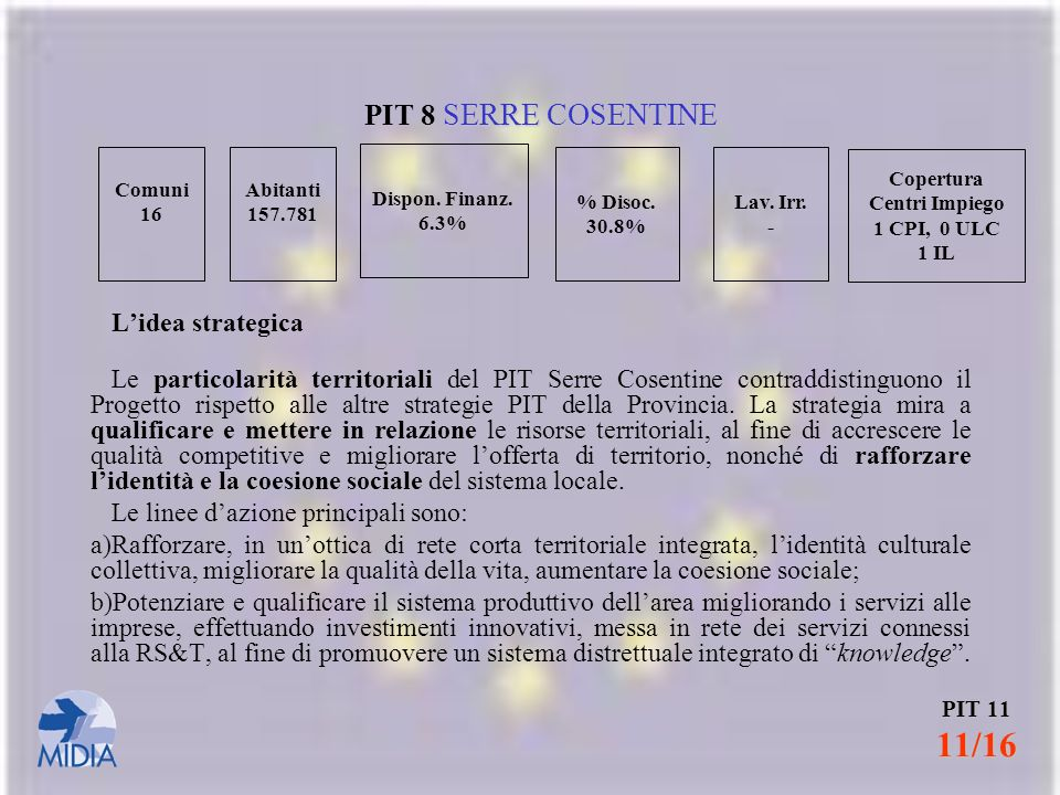 PIT 8 SERRE COSENTINE L'idea strategica