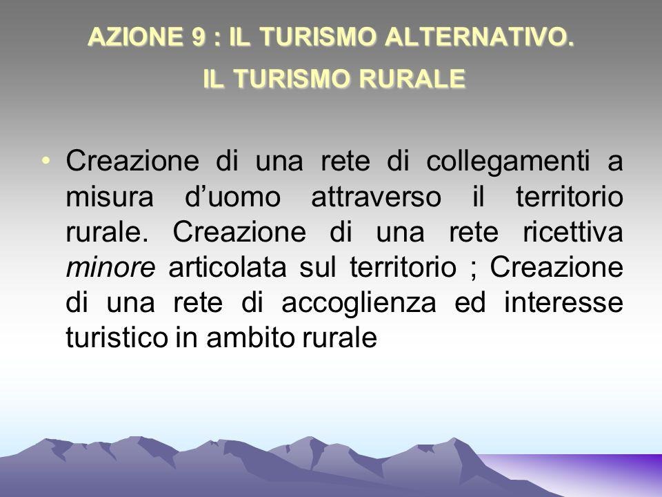 AZIONE 9 : IL TURISMO ALTERNATIVO. IL TURISMO RURALE