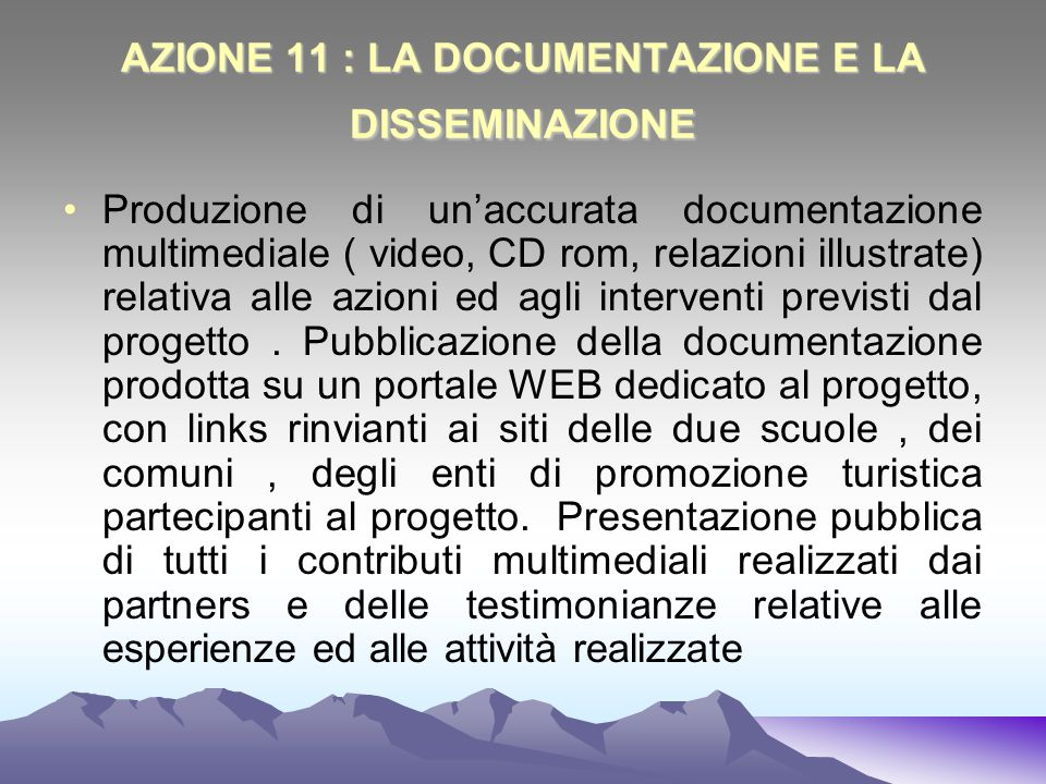 AZIONE 11 : LA DOCUMENTAZIONE E LA DISSEMINAZIONE