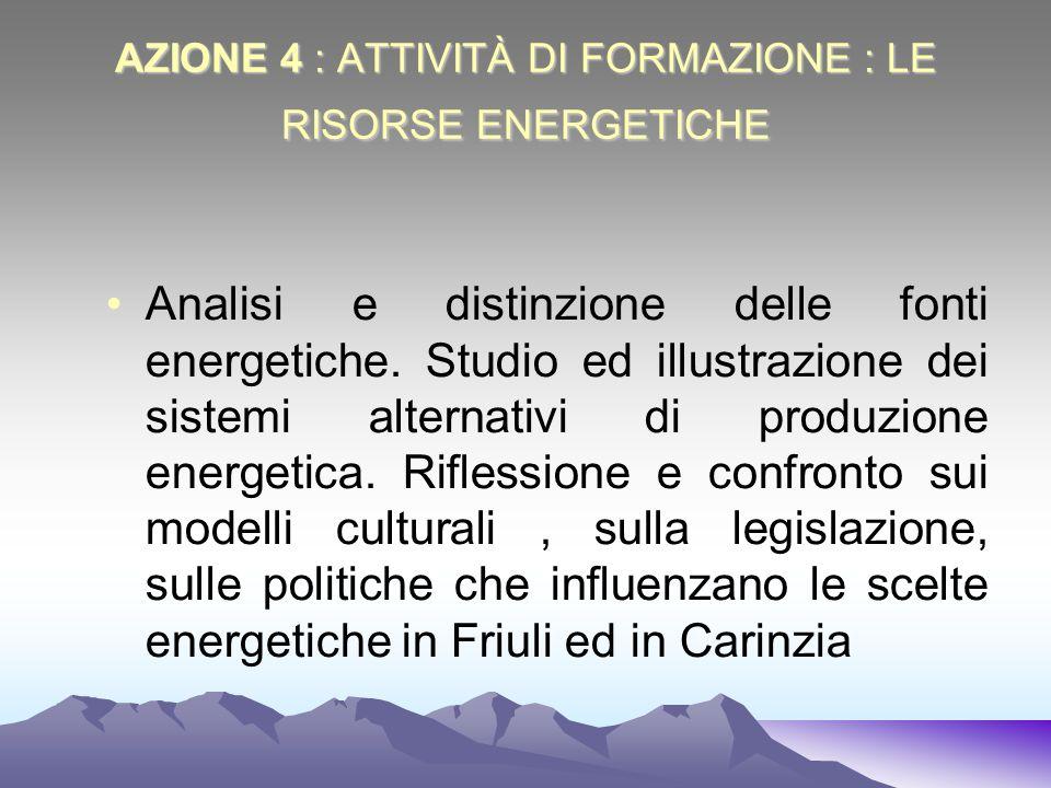 AZIONE 4 : ATTIVITÀ DI FORMAZIONE : LE RISORSE ENERGETICHE
