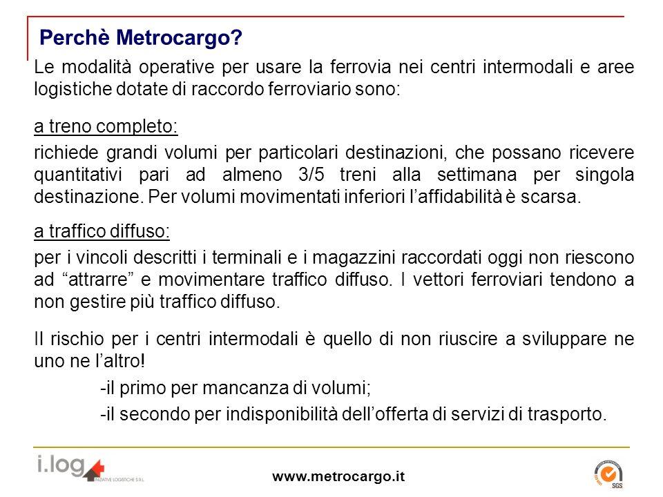 Perchè Metrocargo Le modalità operative per usare la ferrovia nei centri intermodali e aree logistiche dotate di raccordo ferroviario sono: