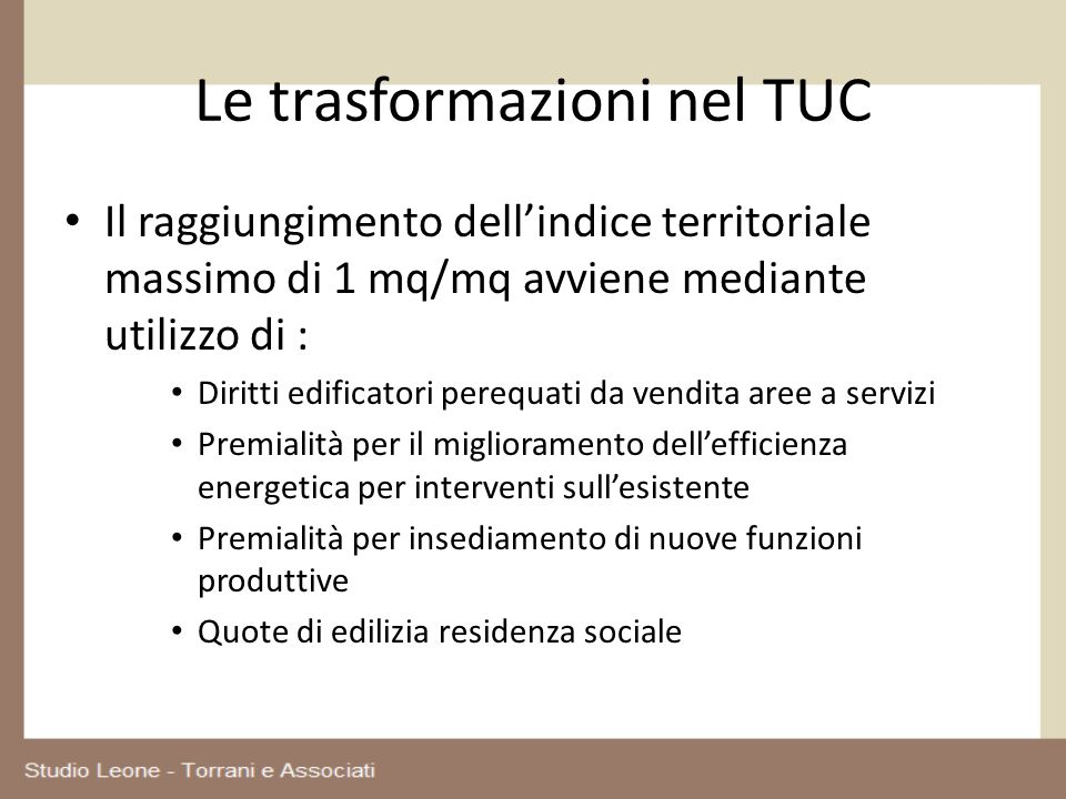 Le trasformazioni nel TUC