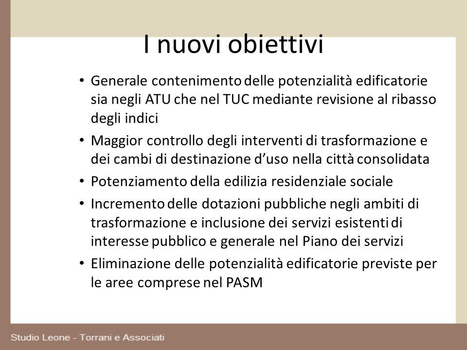 I nuovi obiettivi Generale contenimento delle potenzialità edificatorie sia negli ATU che nel TUC mediante revisione al ribasso degli indici.