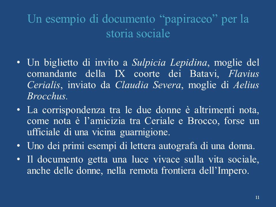 Un esempio di documento papiraceo per la storia sociale