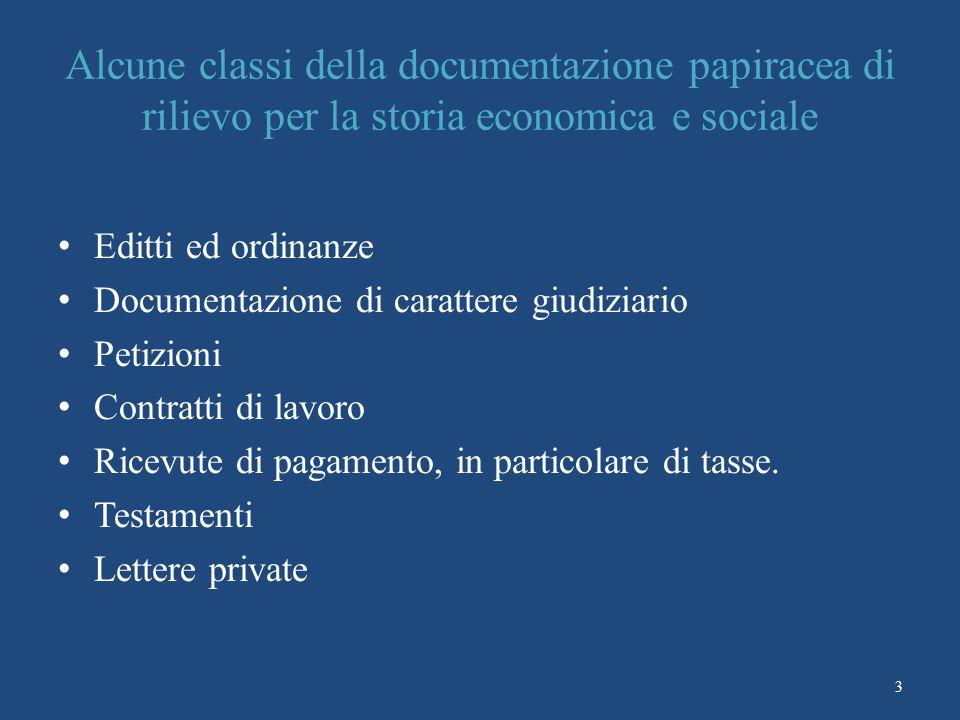 Alcune classi della documentazione papiracea di rilievo per la storia economica e sociale
