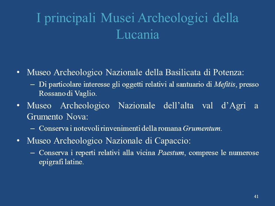 I principali Musei Archeologici della Lucania