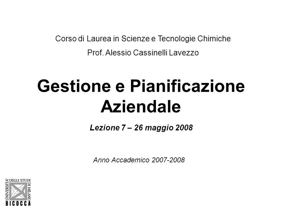 Gestione e Pianificazione Aziendale Lezione 7 – 26 maggio 2008