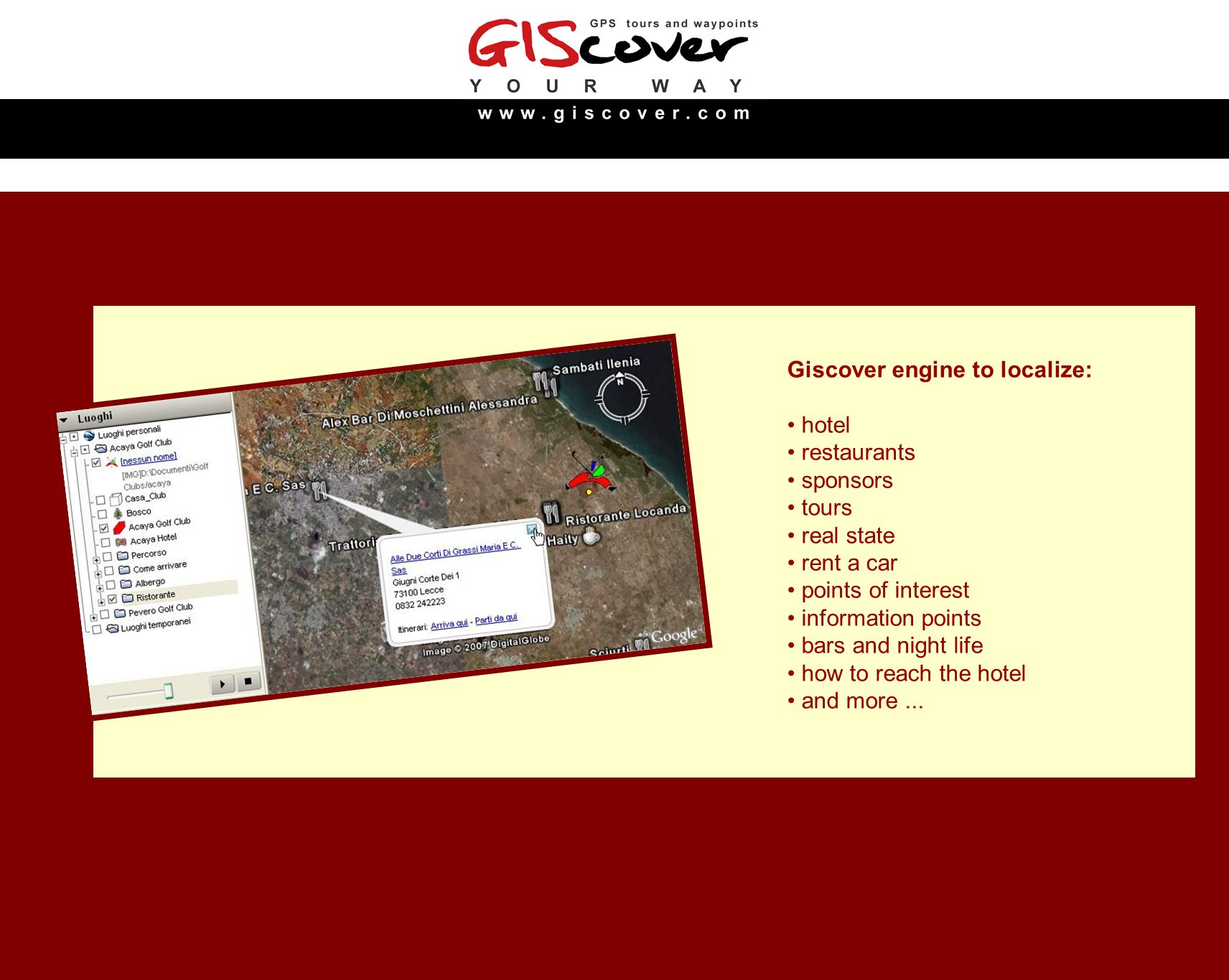 Giscover engine to localize: