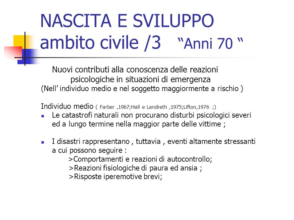 NASCITA E SVILUPPO ambito civile /3 Anni 70