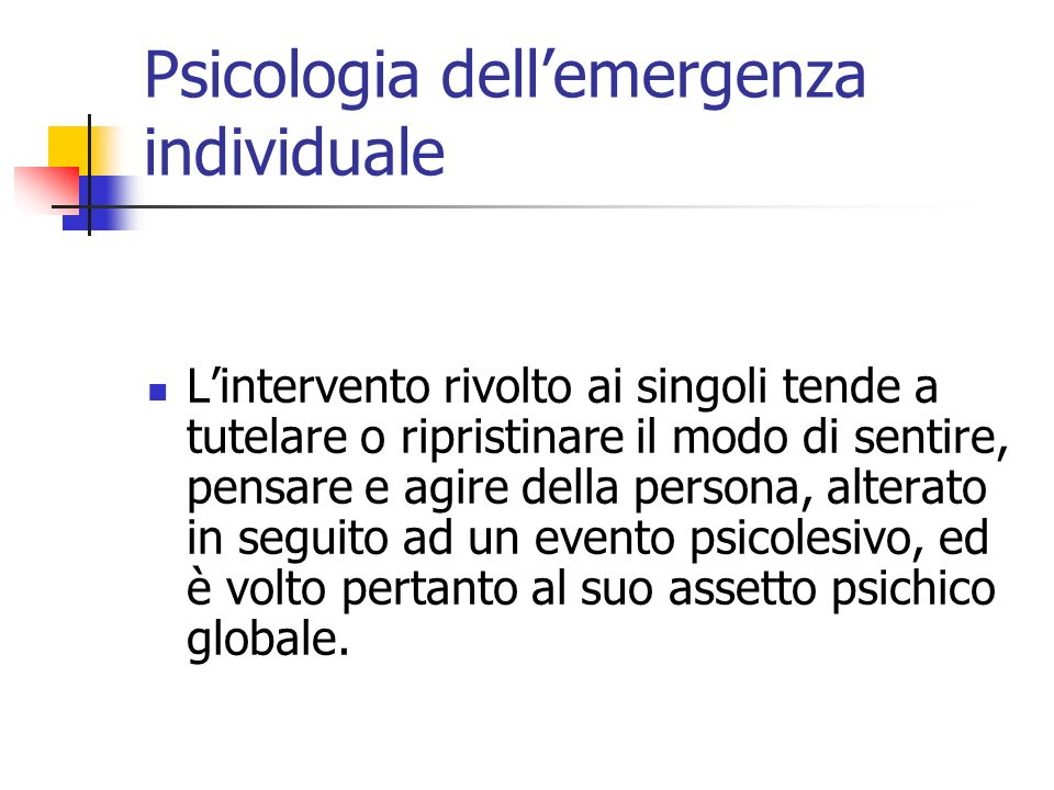 Psicologia dell'emergenza individuale