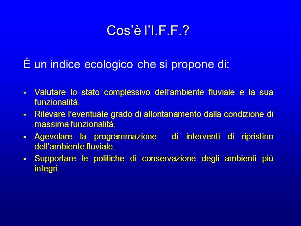 Cos'è l'I.F.F. È un indice ecologico che si propone di: