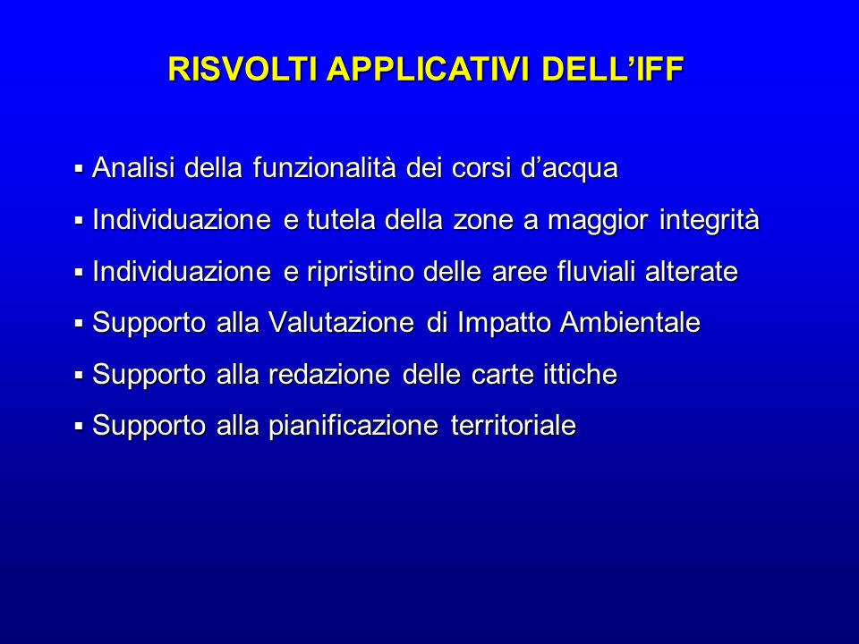 RISVOLTI APPLICATIVI DELL'IFF