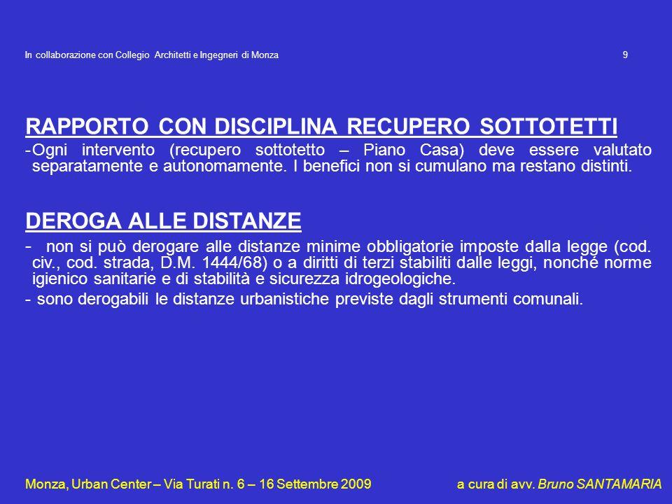 RAPPORTO CON DISCIPLINA RECUPERO SOTTOTETTI
