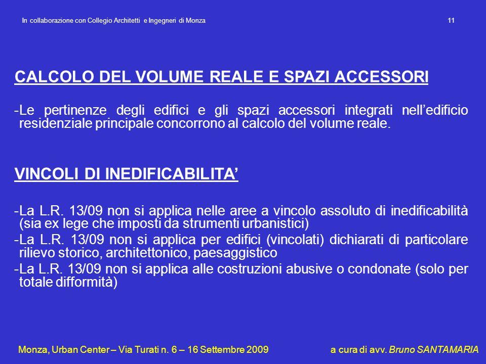 CALCOLO DEL VOLUME REALE E SPAZI ACCESSORI