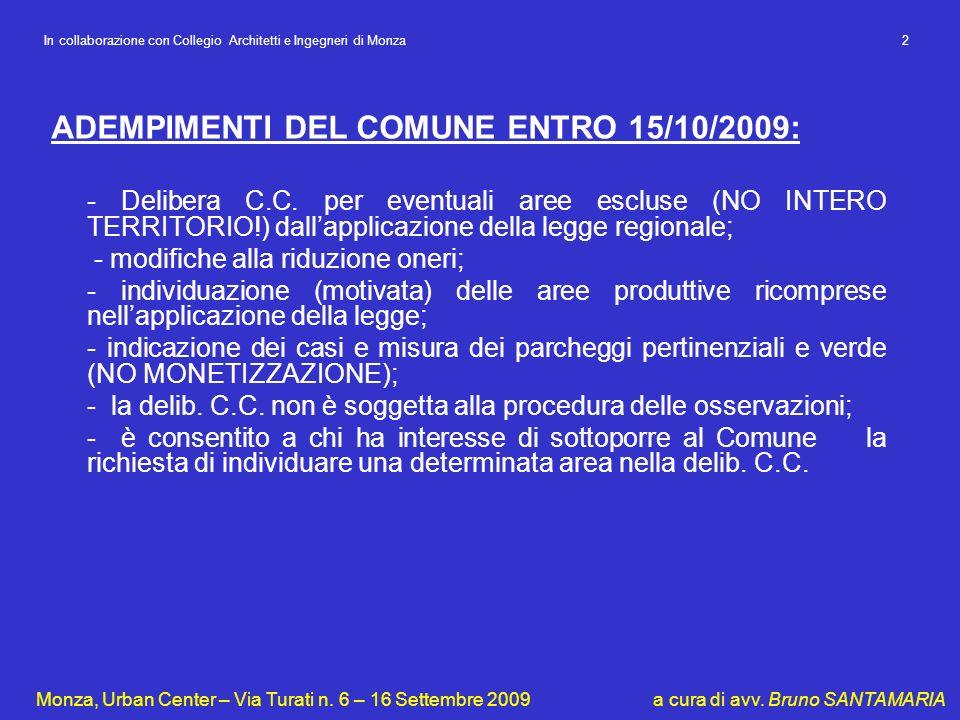 ADEMPIMENTI DEL COMUNE ENTRO 15/10/2009: