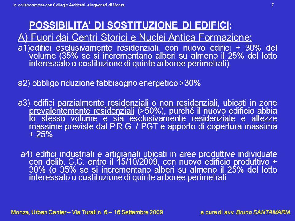 POSSIBILITA' DI SOSTITUZIONE DI EDIFICI: