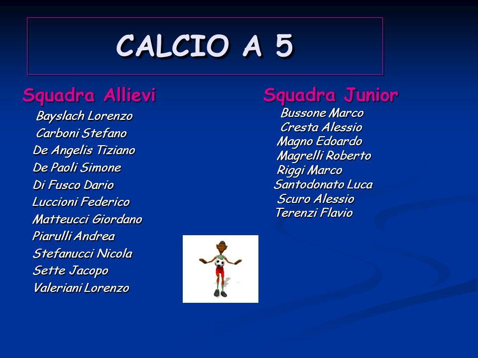 CALCIO A 5 Squadra Allievi Squadra Junior Bayslach Lorenzo