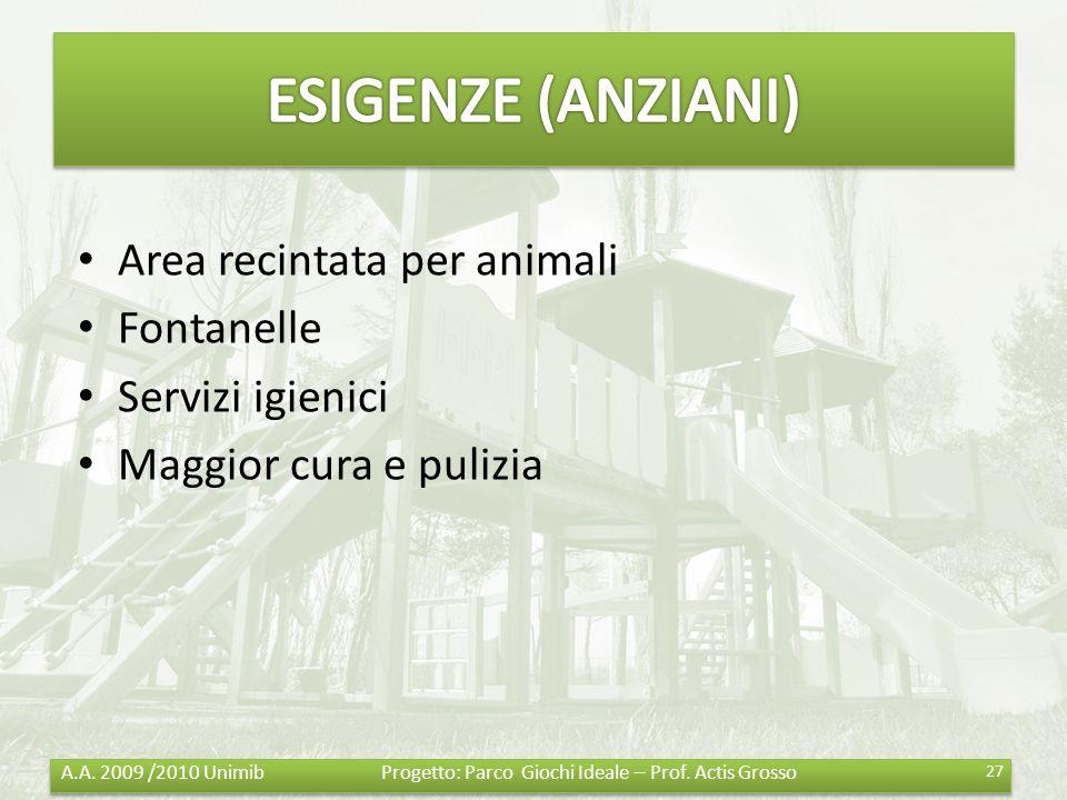 ESIGENZE (ANZIANI) Area recintata per animali Fontanelle