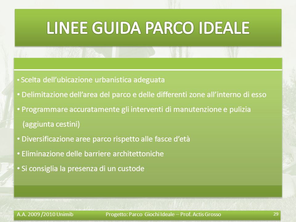 LINEE GUIDA PARCO IDEALE