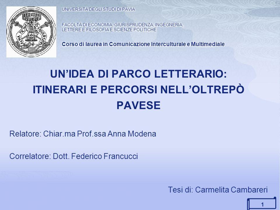 UN'IDEA DI PARCO LETTERARIO: