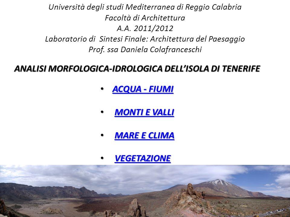 ANALISI MORFOLOGICA-IDROLOGICA DELL'ISOLA DI TENERIFE