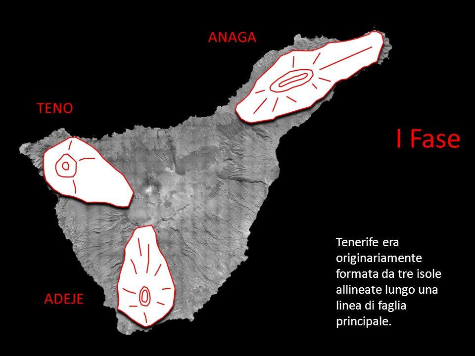 ANAGA TENO. I Fase. Tenerife era originariamente formata da tre isole allineate lungo una linea di faglia principale.