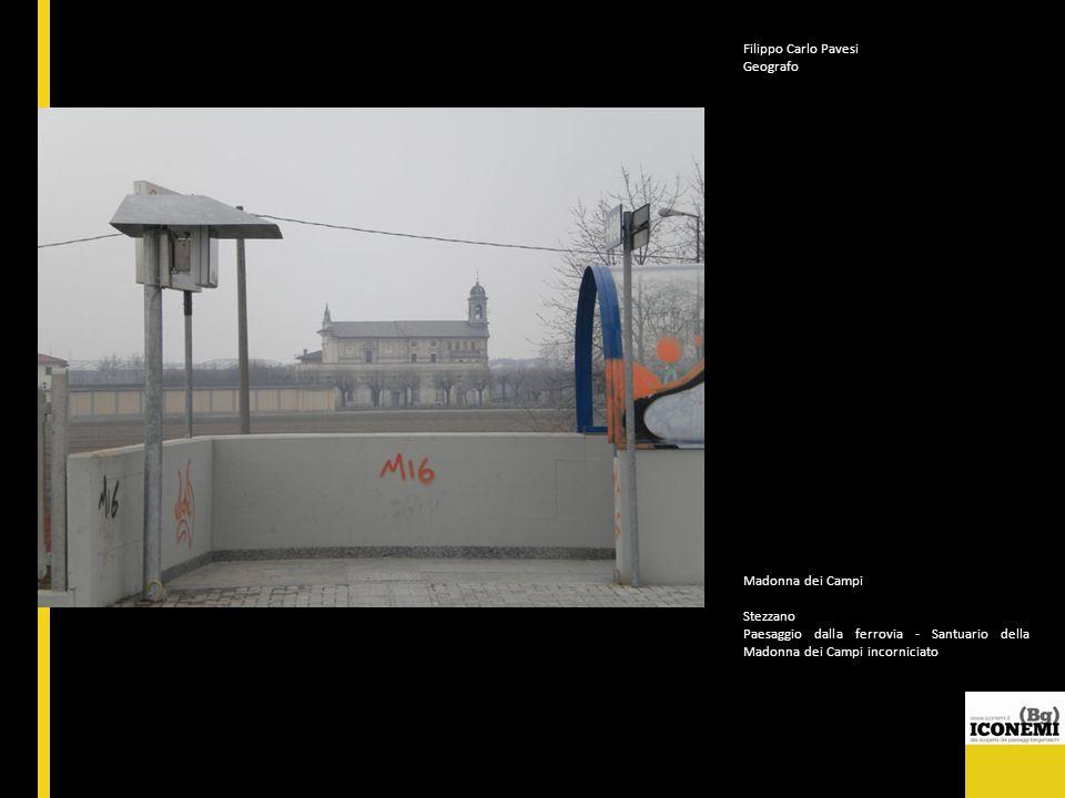 Filippo Carlo Pavesi Geografo. Madonna dei Campi. Stezzano. Paesaggio dalla ferrovia - Santuario della Madonna dei Campi incorniciato.