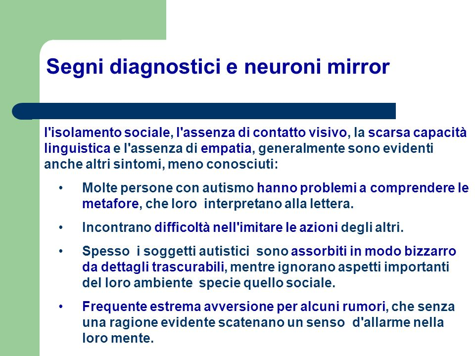 Segni diagnostici e neuroni mirror