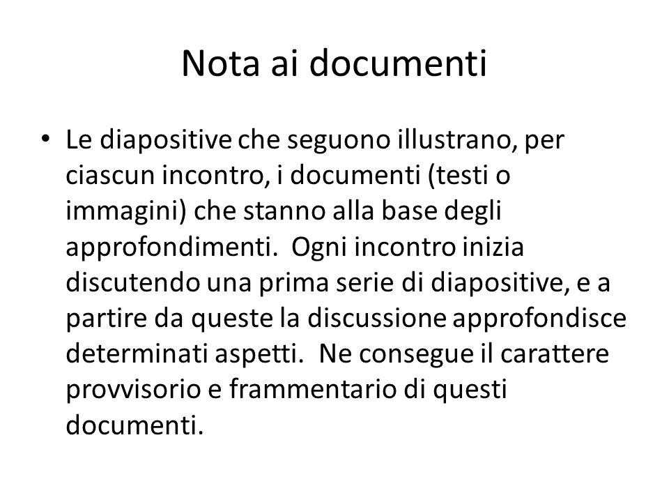 Nota ai documenti