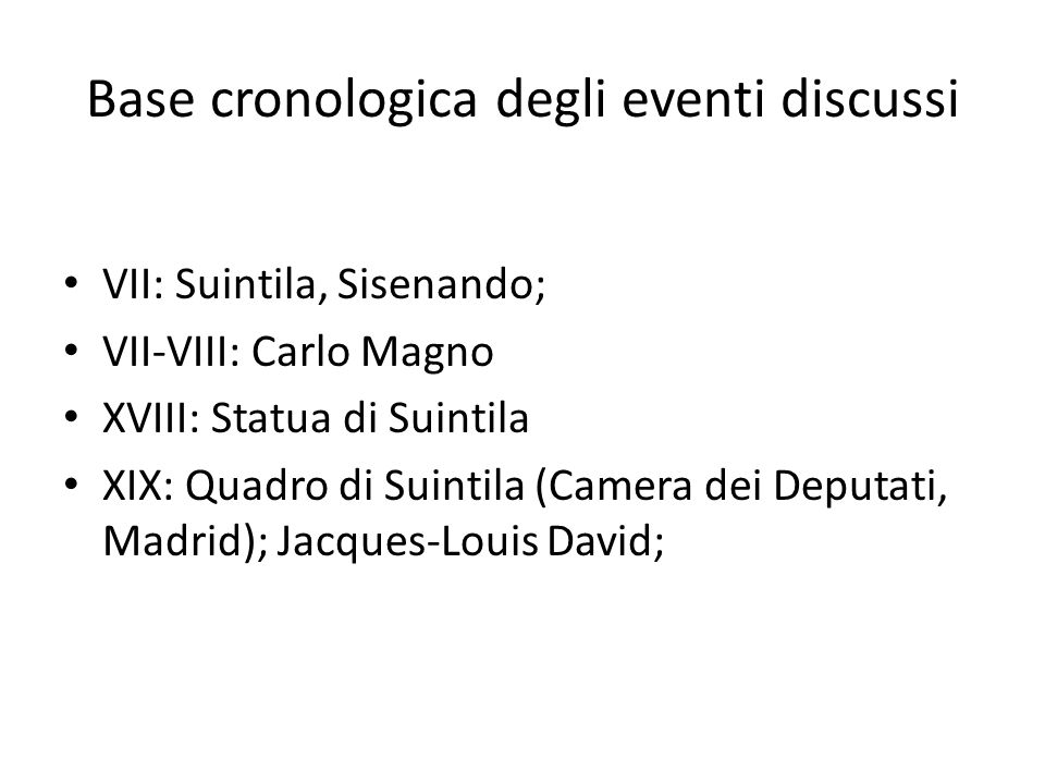 Base cronologica degli eventi discussi