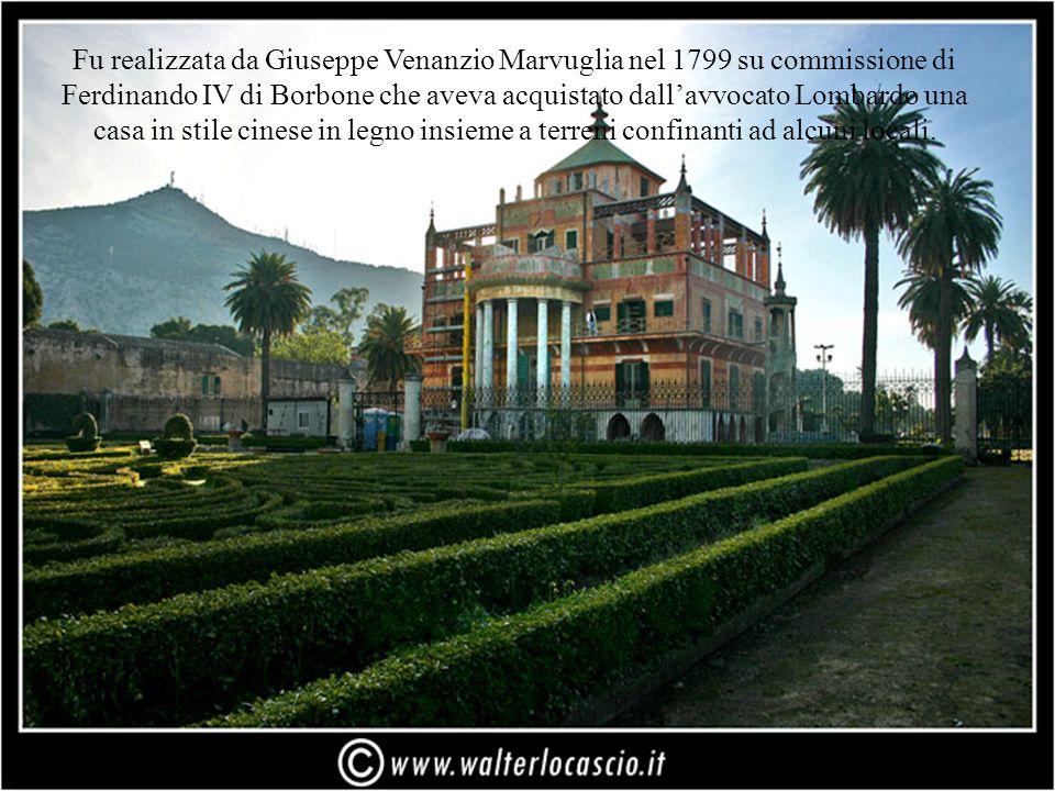Fu realizzata da Giuseppe Venanzio Marvuglia nel 1799 su commissione di Ferdinando IV di Borbone che aveva acquistato dall'avvocato Lombardo una casa in stile cinese in legno insieme a terreni confinanti ad alcuni locali.