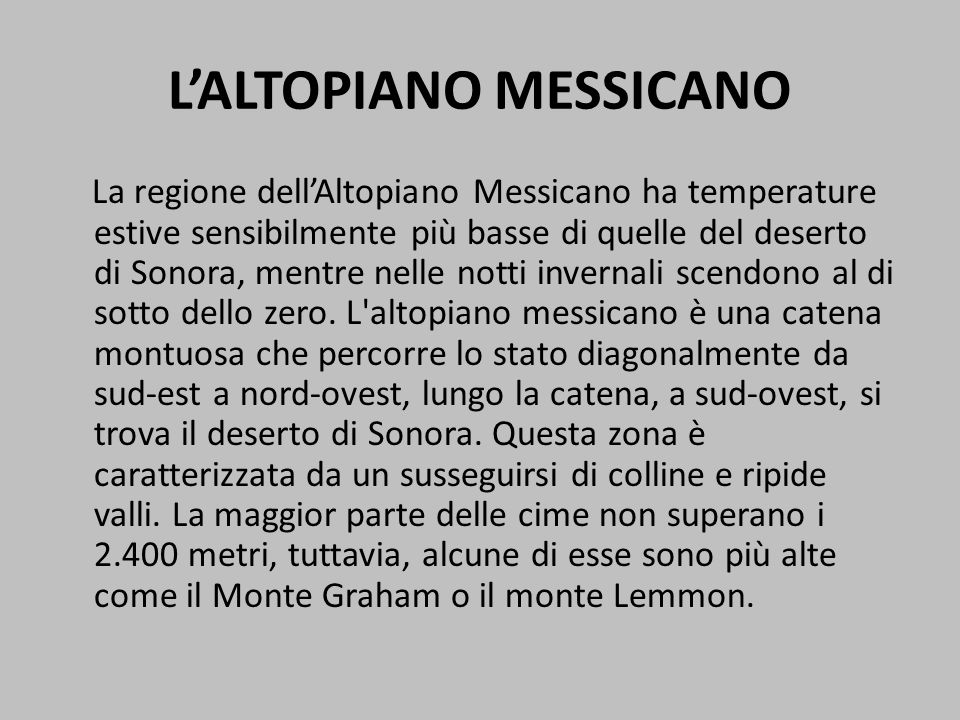 L'ALTOPIANO MESSICANO